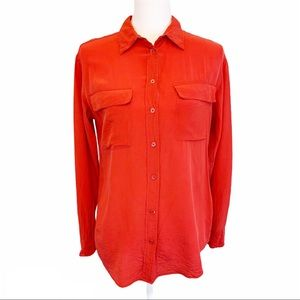 Equipment | 100% Silk Solid Red Button Down Blouse